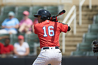 Luis Curbelo (16) of the Piedmont Boll Weevils at bat against the Greensboro Grasshoppers at Kannapolis Intimidators Stadium on June 16, 2019 in Kannapolis, North Carolina. The Grasshoppers defeated the Boll Weevils 5-2. (Brian Westerholt/Four Seam Images)