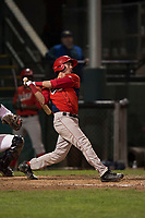 Orem Owlz first baseman David Clawson (3) follows through on his swing during a Pioneer League game against the Helena Brewers at Kindrick Legion Field on August 21, 2018 in Helena, Montana. The Orem Owlz defeated the Helena Brewers by a score of 6-0. (Zachary Lucy/Four Seam Images)