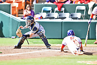 Notre Dame Fighting Irish catcher Ryan Lidge (36) fields the throw as Steven Duggar (9) slides home during a game against the Clemson Tigers during game one of a double headers at Doug Kingsmore Stadium March 14, 2015 in Clemson, South Carolina. The Tigers defeated the Fighting Irish 6-1. (Tony Farlow/Four Seam Images)