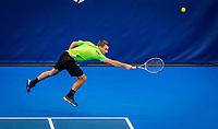 Amstelveen, Netherlands, 16  December, 2020, National Tennis Center, NTC, NK Indoor, National  Indoor Tennis Championships,  Doubles :  Alban Meuffels (NED) <br /> Photo: Henk Koster/tennisimages.com