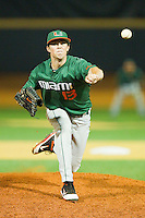 Relief pitcher Sam Robinson #13 of the Miami Hurricanes in action against the Wake Forest Demon Deacons at Gene Hooks Field on March 18, 2011 in Winston-Salem, North Carolina.  Photo by Brian Westerholt / Four Seam Images