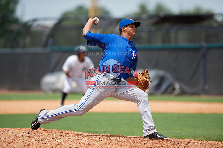 GCL Blue Jays relief pitcher Danilo Manzueta (28) delivers a pitch during the second game of a doubleheader against the GCL Yankees East on July 24, 2017 at the Yankees Minor League Complex in Tampa, Florida.  GCL Yankees East defeated the GCL Blue Jays 6-3.  (Mike Janes/Four Seam Images)