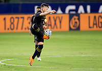 CARSON, CA - SEPTEMBER 06: Tristan Blackmon #27 of LAFC traps a ball during a game between Los Angeles FC and Los Angeles Galaxy at Dignity Health Sports Park on September 06, 2020 in Carson, California.