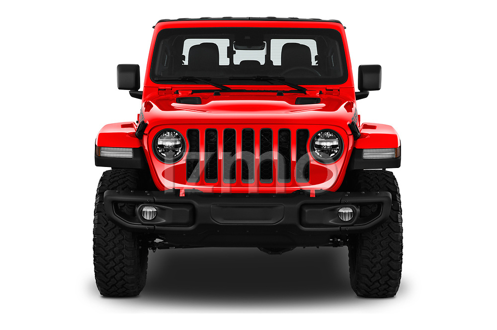 Car photography straight front view of a 2020 Jeep Gladiator Rubicon 4 Door Pick Up