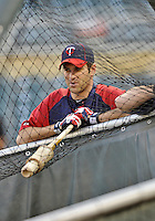 28 September 2012: Minnesota Twins catcher Joe Mauer awaits his turn in the batting cage prior to a game against the Detroit Tigers at Target Field in Minneapolis, MN. The Twins defeated the Tigers 4-2 in the first game of their 3-game series. Mandatory Credit: Ed Wolfstein Photo