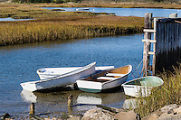 Rowboats docked in a salt marsh, Yarmouth, Cape Cod, Massachusetts, USA