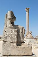 Pompey's Pillar and statue in Alexandria Serapeum, Egypt