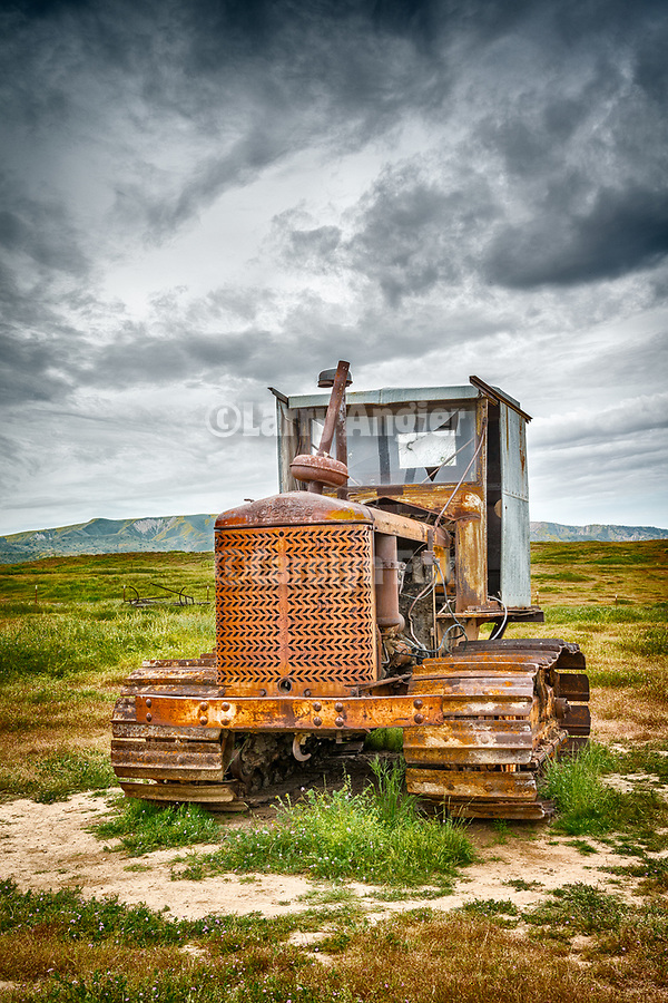 """1940s Cleatrac crawler tractor with home-made cab, abandoned mid 20th century farm at the Traver Ranch, Carrizo Plain National Monument, San Luis Obispo County, Calif.<br /> <br /> Note: 3 signs removed from the tractor's grill, """"19"""", """"Cletrac Tractor"""""""