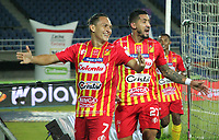 PEREIRA - COLOMBIA,1-12-2020:Wilfrido de la Rosa del Pereira celebra gol Rionegro.Deportivo Pereira y Águilas Doradas Rionegro durante partido de la fecha 2 por la Liguilla BetPlay DIMAYOR 2020 jugado en el estadio  de la ciudad de Pereira. / Wilfrido De La Rosa player of Pereira Deportivo celebrates after scoring a goal agaisnt Rionegro. Pereira and Aguilas Doradas Rionegro during a match of the 2st date for the BetPlay DIMAYOR Liguilla 2020 played at the  Hernán Ramirez Villegas Stadium in Pereira city. / Photos: VizzorImage / Silvana Callejas / Contribuidor