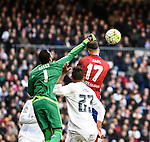 Real Madrid´s Keylor Navas, Danilo and Atletico de Madrid´s Saul Niguez during 2015/16 La Liga match between Real Madrid and Atletico de Madrid at Santiago Bernabeu stadium in Madrid, Spain. February 27, 2016. (ALTERPHOTOS/Javier Comos)