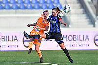 Chloe Vande Velde (10 Gent) pictured in a fight for the ball with Ellen Martens (2 Brugge) during a female soccer game between Club Brugge Dames YLA and AA Gent Ladies on the sixth matchday of the 2020 - 2021 season of Belgian Scooore Womens Super League , saturday 7 th November 2020  in Knokke , Belgium . PHOTO SPORTPIX.BE | SPP | DAVID CATRY