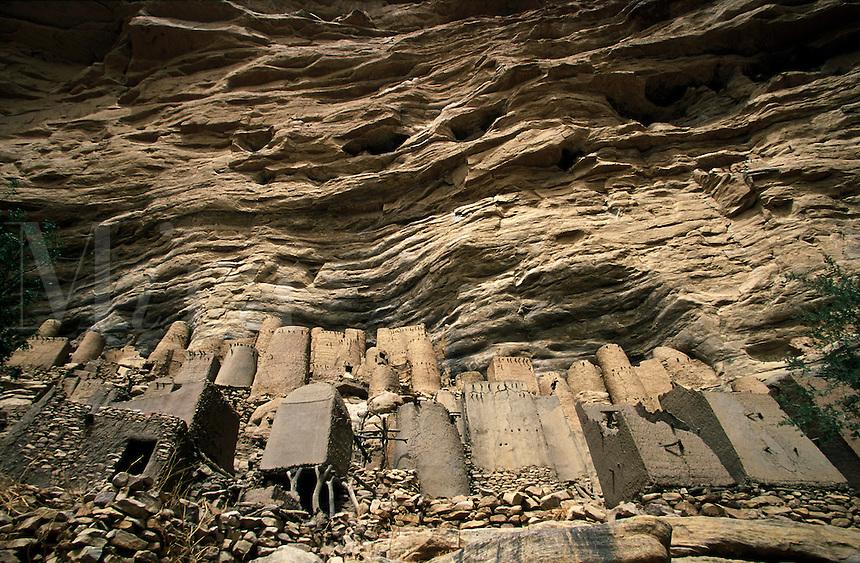Dogon mud village on the Bandiagara Escarpment Dogon Country Mali Africa.