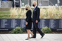 United States President Joe Biden and first lady Dr. Jill Biden attend a wreath laying ceremony at National 9/11 Memorial at the Pentagon in Washington on September 11, 2021. <br /> CAP/MPI/RS<br /> ©RS/MPI/Capital Pictures