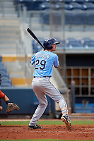 Tampa Bay Rays Tanner Dodson (29) at bat during a Florida Instructional League game against the Baltimore Orioles on October 1, 2018 at the Charlotte Sports Park in Port Charlotte, Florida.  (Mike Janes/Four Seam Images)