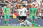 Valencia CF's Kevin Gameiro (c-l) and Carlos Soler (c-r) celebrate goal in presence of Real Sociedad's Asier Illarramendi (l) and Robin Le Normand during La Liga match. August 17,2019. (ALTERPHOTOS/Acero)