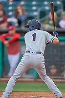 Kristopher Negron (1) of the Tacoma Rainiers bats against the Salt Lake Bees at Smith's Ballpark on May 27, 2019 in Salt Lake City, Utah. The Bees defeated the Rainiers 5-0. (Stephen Smith/Four Seam Images)