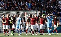 Calcio, Serie A: Roma vs Napoli. Roma, stadio Olimpico, 25 aprile 2016.<br /> Roma's Radja Nainggolan, fourth from right, celebrates after scoring the winning goal as Napoli's players react during the Italian Serie A football match between Roma and Napoli at Rome's Olympic stadium, 25 April 2016. Roma won 1-0.<br /> UPDATE IMAGES PRESS/Isabella Bonotto