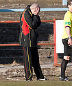 Albion manager Todd Lumsden can't watch as his side go down 5-1 to Alloa.