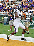 Stephen F. Austin Lumberjacks wide receiver Brandon Scott (11) in action during the game between the Stephen F. Austin Lumberjacks and the Baylor Bears at the Floyd Casey Stadium in Waco, Texas. Baylor defeats SFA 48 to 0.