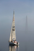 Tourists sail along the Cooper River with the Cooper River Bridge in the background in Charleston, SC.