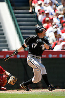 Darin Erstad of the Chicago White Sox during a 2007 MLB season game against the Los Angeles Angels at Angel Stadium in Anaheim, California. (Larry Goren/Four Seam Images)
