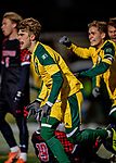 13 November 2019: University of Vermont Catamount Defender Garrett Lillie, a Sophomore from York, Maine, celebrates the game-tying goal in the second half against the University of Hartford Hawks at Virtue Field in Burlington, Vermont. The Catamounts fell to the visiting Hawks 3-2 in sudden death overtime of the Division 1 Men's Soccer America East matchup. Mandatory Credit: Ed Wolfstein Photo *** RAW (NEF) Image File Available ***