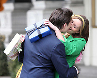 Leighton Meester Ed Westwick<br /> on set of Gossip Girl outside of Plaza Hotel, 2009, Photo By John Barrett/PHOTOlink