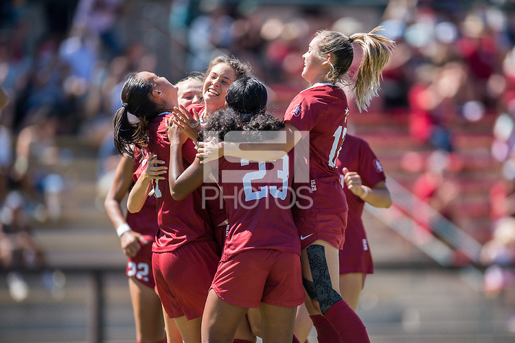 STANFORD, CA - SEPTEMBER 12: Celebration during a game between Loyola Marymount University and Stanford University at Cagan Stadium on September 12, 2021 in Stanford, California.