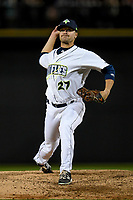 Relief pitcher Connor O'Neil (27) of the Columbia Fireflies delivers a pitch in a game against the Augusta GreenJackets on Opening Day, Thursday, April 5, 2018, at Spirit Communications Park in Columbia, South Carolina. Columbia won, 4-2. (Tom Priddy/Four Seam Images)