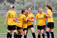 Capital Team celebrates a goal during the  Handa Women's Premiership - Capital Football v Southern United at Petone Memorial Park, Wellington on Saturday 7 November 2020.<br /> Copyright photo: Masanori Udagawa /  www.photosport.nz