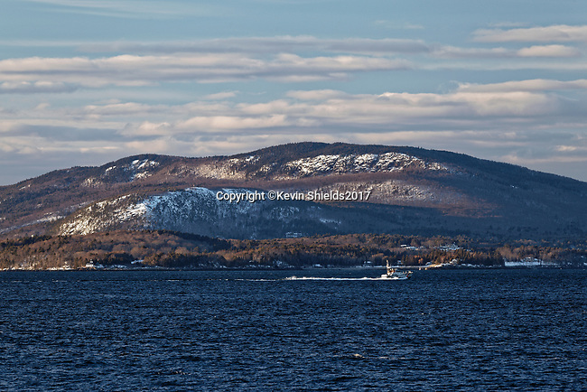 Winter view of the Camden Hills from Owls Head, Knox County, Maine, USA
