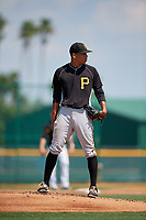 Pittsburgh Pirates pitcher Alex Manasa (38) looks in for the sign during an Instructional League intrasquad black and gold game on September 28, 2017 at Pirate City in Bradenton, Florida.  (Mike Janes/Four Seam Images)