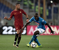 Calcio, Serie A: Roma, stadio Olimpico, 14 ottobre 2017.<br /> Napoli's Kalidou Koulibaly (r) in action with Roma's Bruno Peres (l) during the Italian Serie A football match between Roma and Napoli at Rome's Olympic stadium, October14, 2017.<br /> UPDATE IMAGES PRESS/Isabella Bonotto