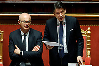 Federico D'Inca', Minister of the relations with Parliament, Italian Premier Giuseppe Conte <br /> Rome February 18th 2020. Senate. Speech of the Italian Premier about the next European Council.<br /> Foto Samantha Zucchi Insidefoto