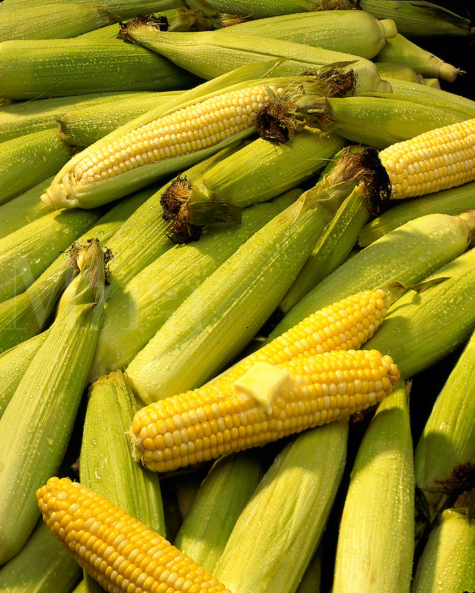 Corn on the cob and in the husk with melting butter.
