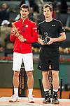 Scotch Andy Murray and Serbian Novak Djokovic during  TPA Finals Mutua Madrid Open Tennis 2016 in Madrid, May 08, 2016. (ALTERPHOTOS/BorjaB.Hojas)