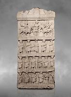 Roman relief sculpture funerary stele. Late Roman Period. Hierapolis Archaeology Museum, Turkey