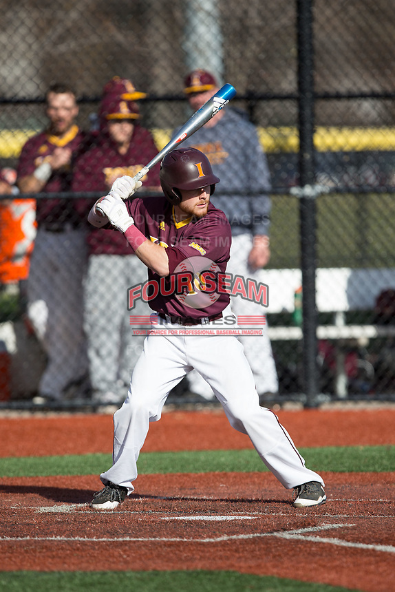 Tyler Bruno (10) of the Iona Gaels at bat against the Rutgers Scarlet Knights at City Park on March 8, 2017 in New Rochelle, New York.  The Scarlet Knights defeated the Gaels 12-3.  (Brian Westerholt/Four Seam Images)