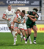 Friday 23rd April 2021; Ethan McIlroy is tackled by Tom Daly during the first round of the Guinness PRO14 Rainbow Cup between Ulster Rugby and Connacht Rugby at Kingspan Stadium, Ravenhill Park, Belfast, Northern Ireland. Photo by John Dickson/Dicksondigital