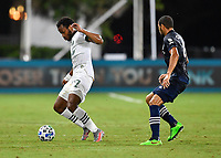 LAKE BUENA VISTA, FL - AUGUST 01: Jeremy Ebobisse #17 of the Portland Timbers is pressured by Alexander Callens #6 of New York City FC during a game between Portland Timbers and New York City FC at ESPN Wide World of Sports on August 01, 2020 in Lake Buena Vista, Florida.