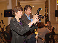 December 08, 2014, Amsterdam, Amstel Hotel, Tennisser off the Year Awards, Babette Pluim and Jan willem de Lange.<br /> Photo: Henk Koster