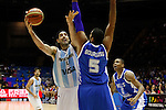 Argentina´s  Scola (L) and Greece´s Bourousis during FIBA Basketball World Cup Spain 2014 match between Argentina and Greece at Sevilla stadium in Sevilla, Spain. September 04, 2014. (ALTERPHOTOS/Victor Blanco)