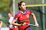 Mannheim, Germany, April 18: During the 1. Bundesliga Damen match between TSV Mannheim (white) and Mannheimer HC (red) on April 18, 2015 at TSV Mannheim in Mannheim, Germany. Final score 1-7 (1-4). (Photo by Dirk Markgraf / www.265-images.com) *** Local caption *** Anne Winter #18 of Mannheimer HC