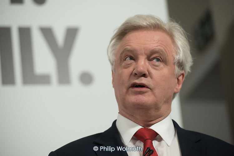 David Davis MP, Secretary of State for Exiting the European Union. Conservative party general  election campaign press conference, Westminster, London
