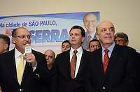 SAO PAULO, 04 DE JUNHO DE 2012 - SERRA PR - O candidato a prefeitura de Sao Paulo, Jose Serra, o Governador Geraldo Alckmin e o Prefeito Gilberto Kassab em reuniao de apoio politico na sede do Partido da Republica. na Avenida Republica do Libano, regiao sul da capital, na tarde desta segunda feira. FOTO: ALEXANDRE MOREIRA - PHOTO PRESS