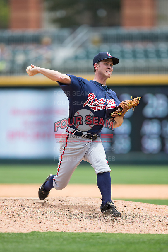 Gwinnett Braves relief pitcher Ryan Weber (33) in action against the Charlotte Knights at BB&T BallPark on July 3, 2015 in Charlotte, North Carolina.  The Braves defeated the Knights 11-4 in game one of a day-night double header.  (Brian Westerholt/Four Seam Images)