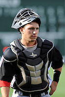 Catcher David Lyon (36) of the Hickory Crawdads before in a game against the Greenville Drive on Friday, June 7, 2013, at Fluor Field at the West End in Greenville, South Carolina. Greenville won the resumption of this May 22 suspended game, 17-8. (Tom Priddy/Four Seam Images)