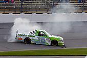 #16: Brett Moffitt, Hattori Racing Enterprises, Toyota Tundra Destiny Homes celebrates his win with a burnout