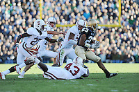 South Bend, IN - OCTOBER 4:  Linebacker Chike Amajoyi #43, cornerback Johnson Bademosi #27, kicker Aaron Zagory #11, and linebacker Thaddeus Chase #21 of the Stanford Cardinal during Stanford's 28-21 loss against the Notre Dame Fighting Irish on October 4, 2008 at Notre Dame Stadium in South Bend, Indiana.