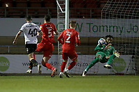 Lawrence Vigouroux of Leyton Orient denies Ian Henderson of Salford City during Leyton Orient vs Salford City, Sky Bet EFL League 2 Football at The Breyer Group Stadium on 2nd January 2021